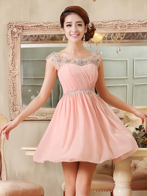 A-Line Scoop Beaded Pleats Short Homecoming Dress