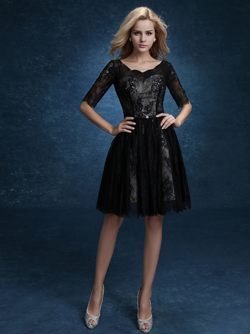 A-Line Lace Scalloped-Edge Half Sleeves Holiday Homecoming Dress 2020