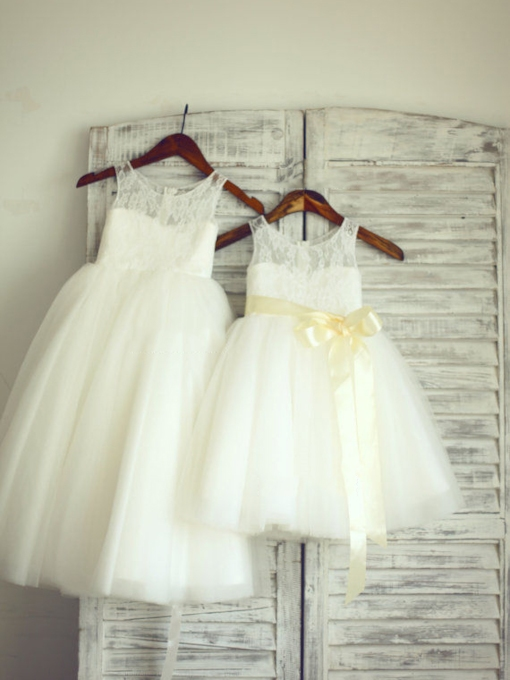 Cute Floor-Length Tulle Lace Sleeveless Flower Girl Dress