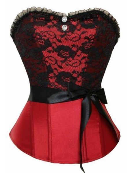 Floral Lace Patchwork Mesh Bowknot Button Women's Corset