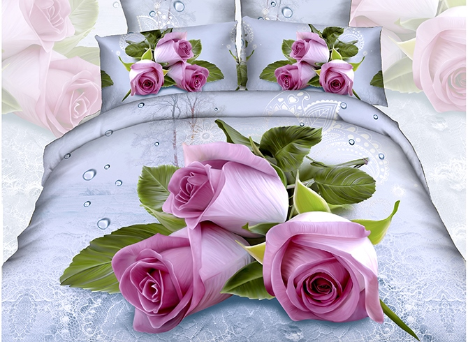 Pink Roses with Water-Drop Printed Cotton 3D 4-Piece Bedding Sets /Duvet Covers