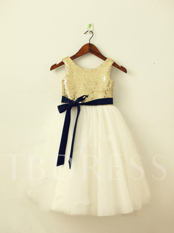 Image of Golden Sequins Ribbons Tea-Length Short Flower Girl Dress