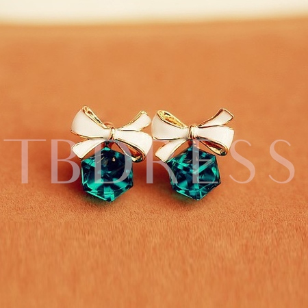Bowknot and Imitation Crystal Pendant Earrings