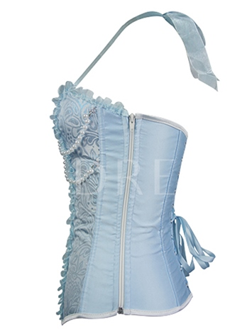 Lace Patchwork Halter Bead Decorated Women's Corset