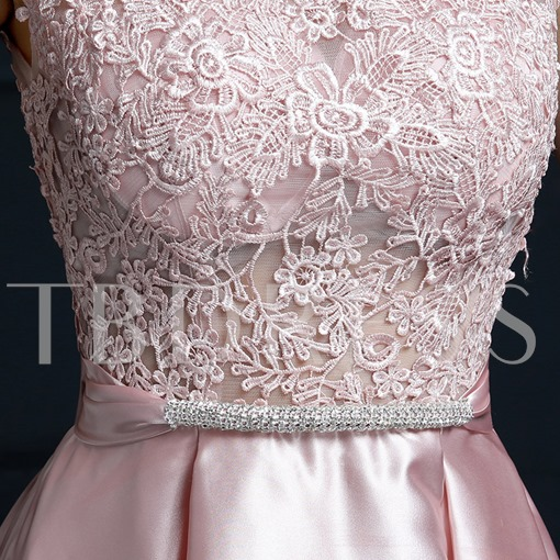Round Neck A-Line Lace Bow Mini Homecoming Dress