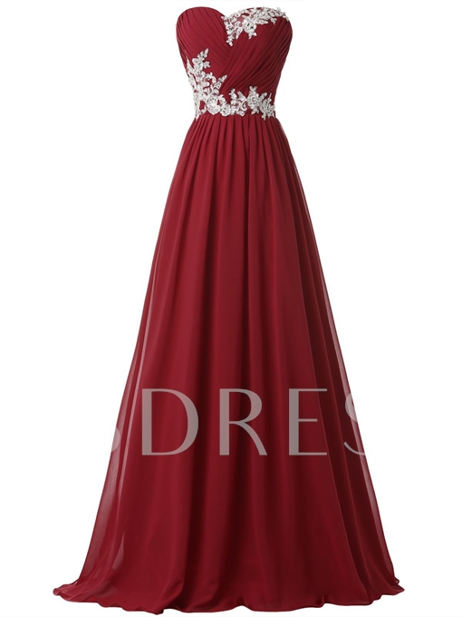 A-Line Sweetheart Appliques Pleats Long Evening Dress