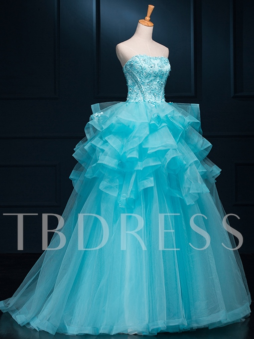 Strapless Ruffles Appliques Beaded Quinceanera Dress