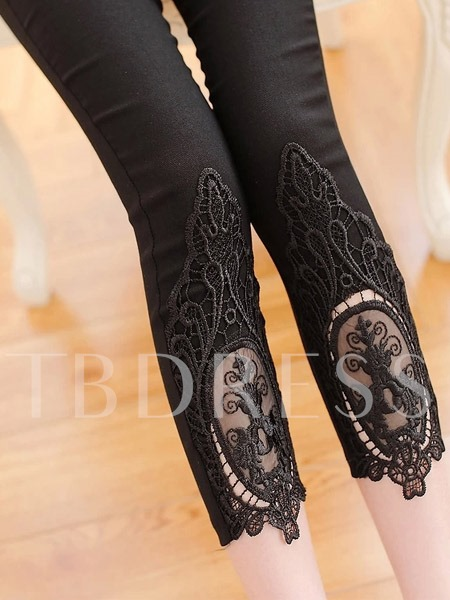 Lace Patchwork Hollow-out Cotton Women's Leggings