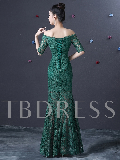 Half Sleeve Off-the-Shoulder Lace Ankle-Length Evening Dress