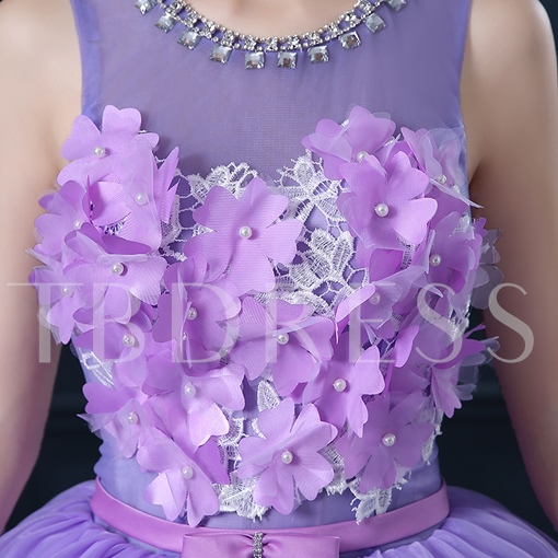 Scoop Flowers Beaded Sashes Bowknot Quinceanera Dress