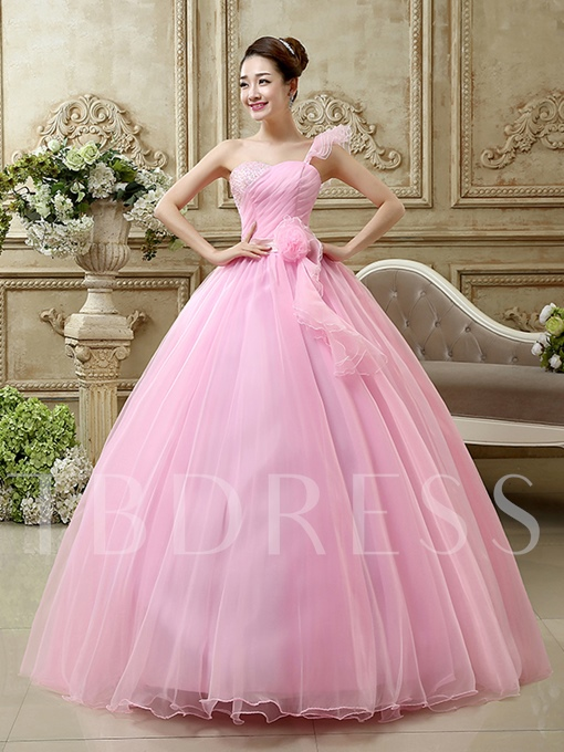 One-Shoulder Beaded Ruched Quinceanera Dress