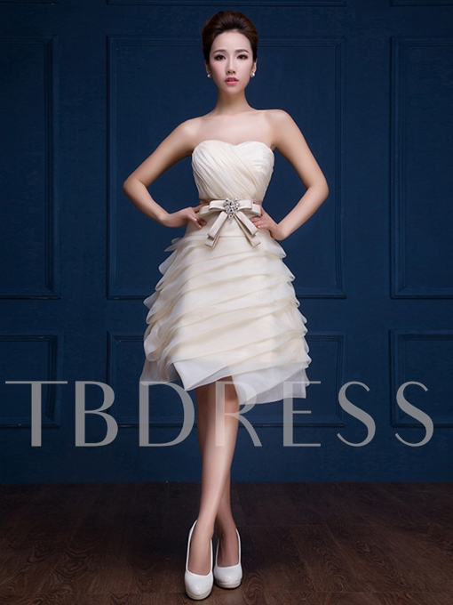 Sweetheart A-Line Ruched Bow Mini Knee-Length Homecoming Dress