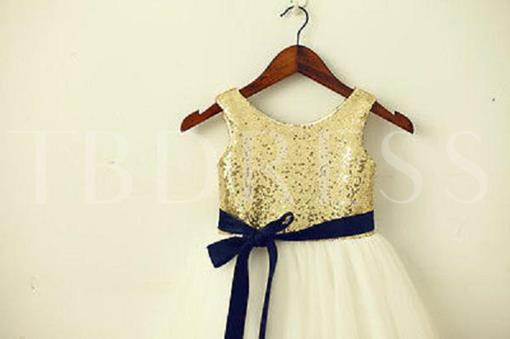 Golden Sequins Ribbons Tea-Length Short Flower Girl Dress