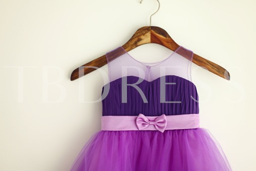 Lilac Knee-Length Short Bowknot Flower Girl Dress