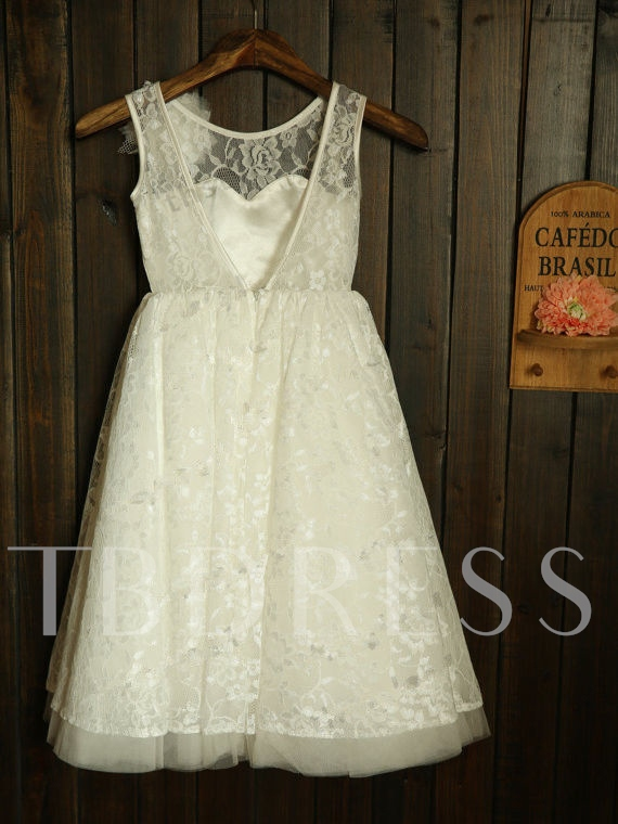 Ankle-Length Lace Open Back Long Flower Girl Dress