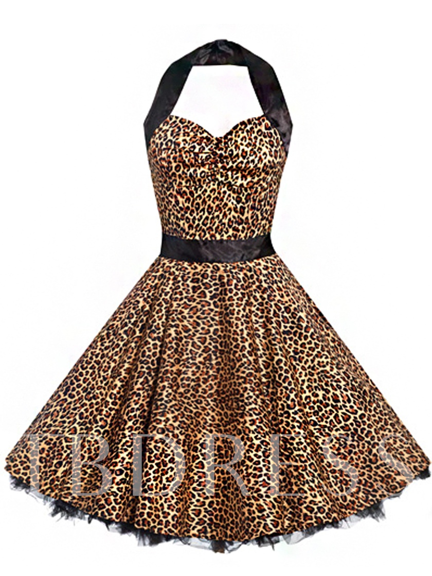 Leopard Spaghetti Strap Women's Day Dress (Plus Size Available)