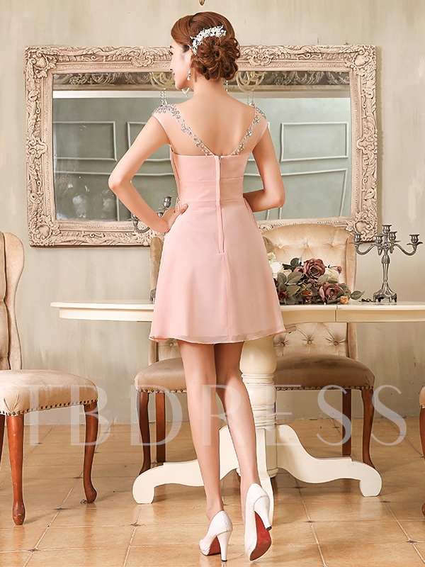 Scoop Neck Beaded Pleats Pearl Pink Homecoming Dress