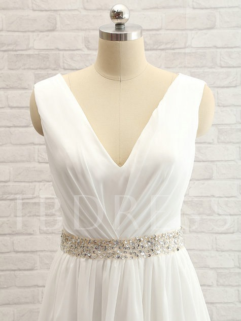 Beaded Belt Split-Front Lace Beach Wedding Dress