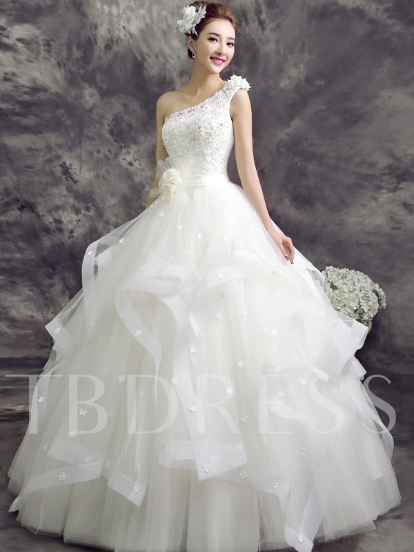 Flowers One-Shoulder Beading Ball Gown Wedding Dress - Tbdress.com