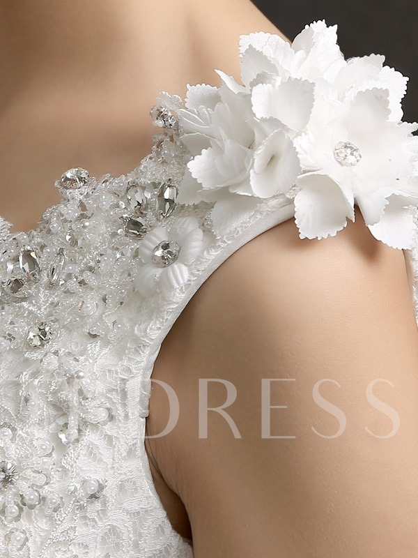 Flowers One-Shoulder Beading Ball Gown Wedding Dress