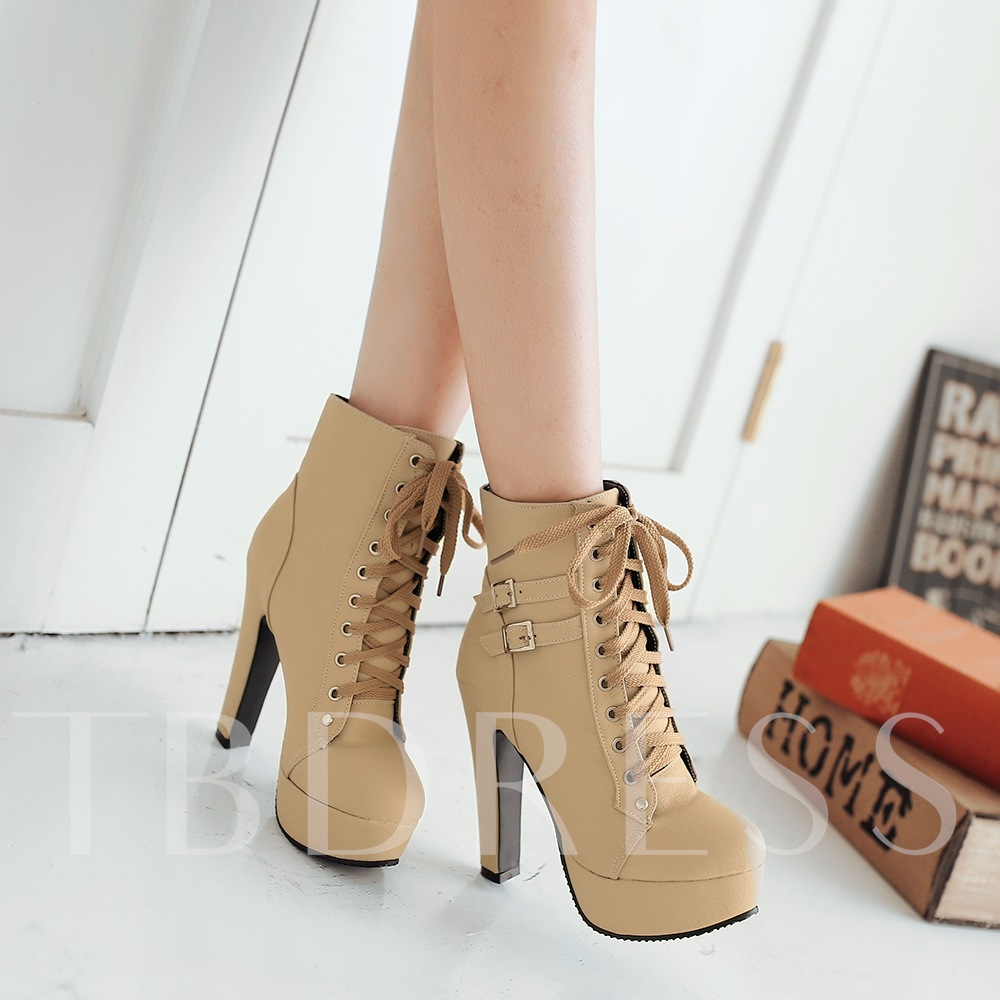High Chunky Heel Lace-up Women's Ankle Boots