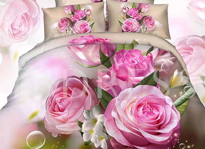 Bunch of Pink Peonies Printed Cotton 3D 4-Piece Bedding Sets/Duvet Covers