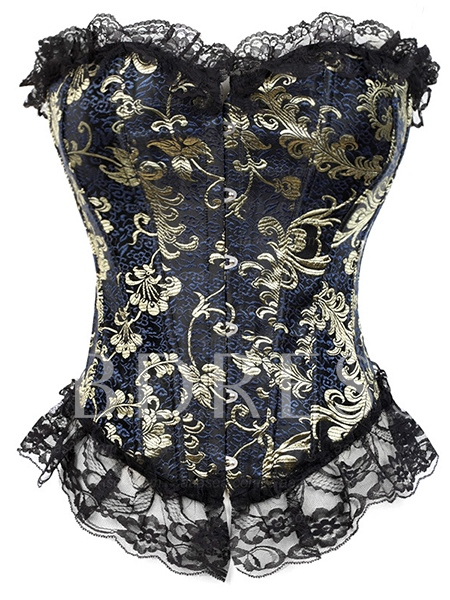 Lace Patchwork Floral Printing String Women's Corset ( Plus Sizes Available )