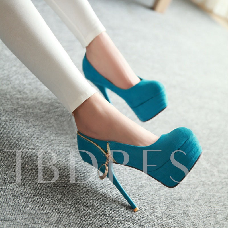 Zipper Round Toe High Heel Women's Prom Shoes (Plus Size Available)