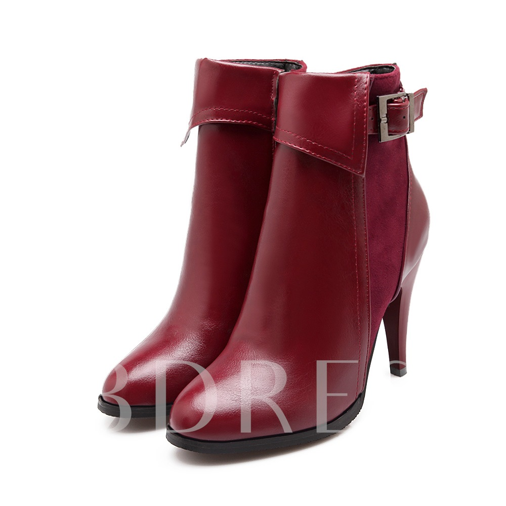 Buckle Side Zipper Pointed Toe Women's Boots (Plus Size Available)