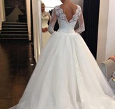 Long Sleeves Ball Gown Lace Sequins Wedding Dress