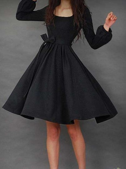 Plain Long Sleeve Women's Day Dress with Belt