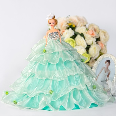 Mint Green Tiered Bridal Barbie Doll Gift
