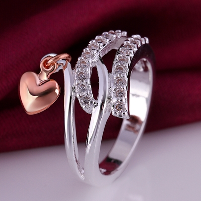 Heart Pendant Diamond-Shaped Ring