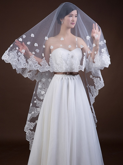 Chapel Tulle Lace Appliques Wedding Long Veil
