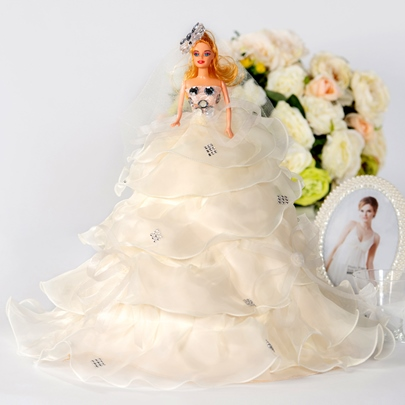 Champagne Tiered Organza Wedding Barbie Doll