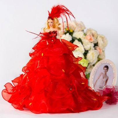 Red Tiered Organza Wedding Barbie Doll