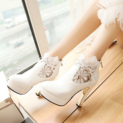 Lace Straps Platform High Heel Women's Boots (Plus Size Available)