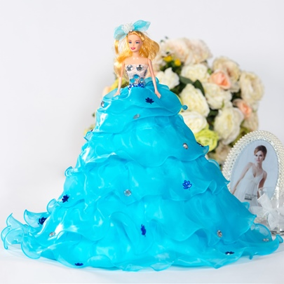Blue Tiered Beaded Appliques Bridal Barbie Doll Gift