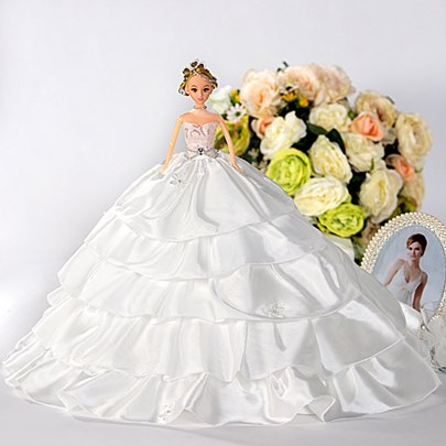 Exquisite Tiered Wedding Bridal Barbie Doll