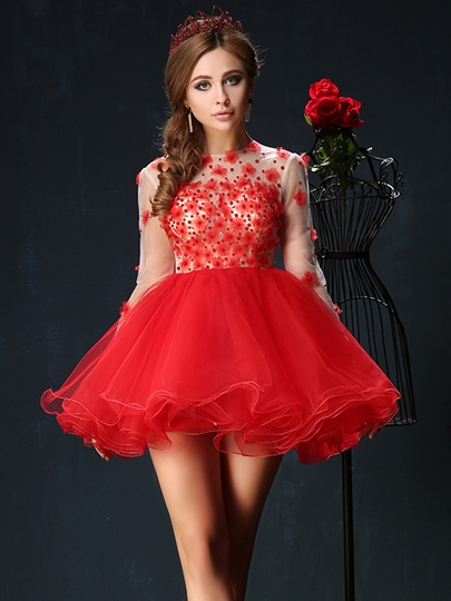 Long Sleeve A-Line Jewel Neck Flowers Mini Homecoming Dress