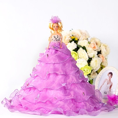 Purple Tiered Organza Wedding Barbie Doll