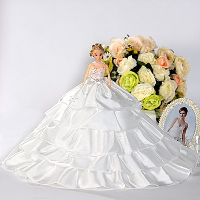 Strapless White Satin Wedding Barbie Doll