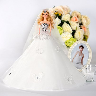 Exquisite Butterflies Tulle Wedding Barbie Doll