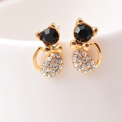 Lovely Cat Diamante Earrings