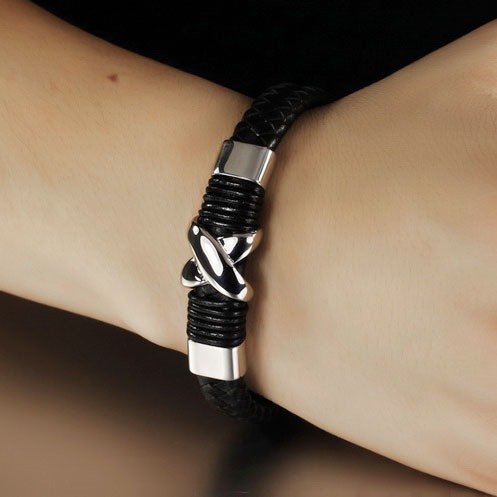 Black Metal Braided Business Artificail Leather Bracelet