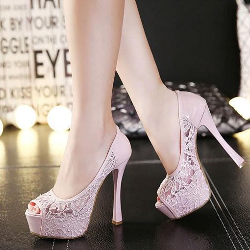 Patchwork Lace Peep Toe High Heel Women's Prom Shoes