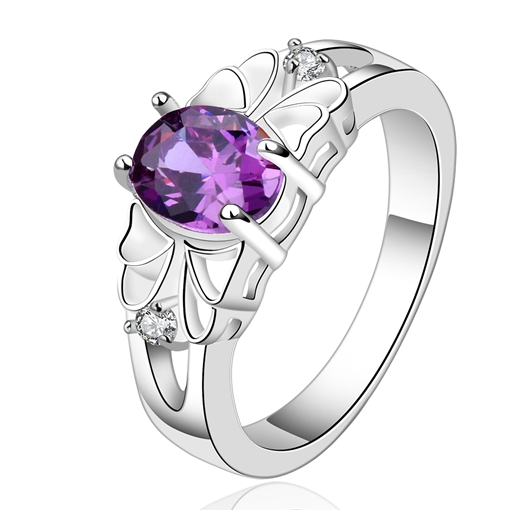 Hollow Out Zircon Inlaid Ultra Violet Ring