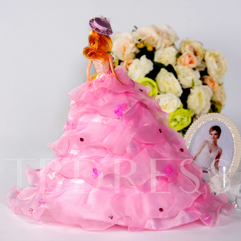 Tiered Butterflies Wedding Barbie Doll Gift