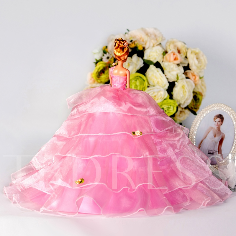 Pink Tiered Wedding Barbie Doll Princess Toy Gift