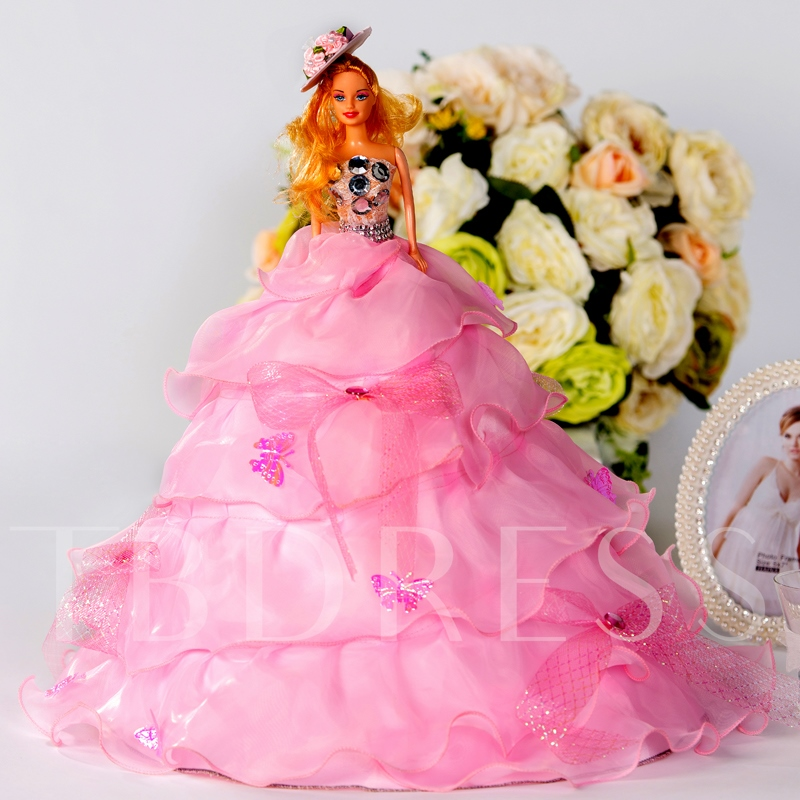 Tiered Butterflies Wedding Barbie Doll Girl`s Gift